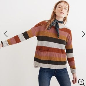 Madewell Striped Patch Pocket Pullover Sweater